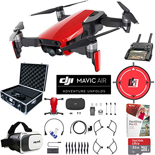 DJI Mavic Air (Flame Red) Drone Combo 4K Wi-Fi Quadcopter with Remote Controller Pro Photo Edit Bundle with Hard Case VR Goggles Landing Pad 32GB Memory Card 16GB Drive and Corel Pro X9