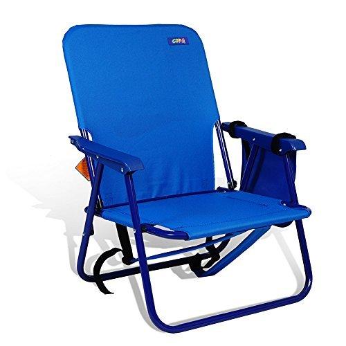 バックパック頑丈なスチールビーチ椅子シート高10」推奨重量制限225lbs by Copa (アソートカラー) B074FD8LXN ダークブルー ダークブルー