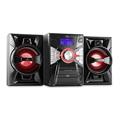 auna MCD 107C Stereoanlage Kompaktanlage Musikanlage HiFi-Anlage (MP3, Bluetooth-Schnittstelle, CD-Player, 2-Wege Bassreflex-Lautsprecher mit LED-Beleuchtung) schwarz