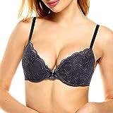 34 d bra push up - Elaver Women's Plus Size Padded Lace Cups Underwire Bra 32D