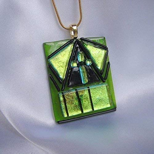 SAINT PATRICK'S CROSS Dichroic Fused Glass Jewelry Pendant with Necklace