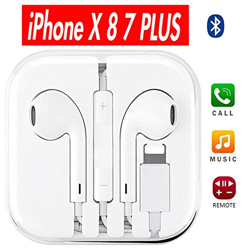 Price comparison product image Lightning Earbuds, Xeroma iPhone Headphones with Microphone for iPhone 7 7s plus 8 8 plus X X plus iPad 4 5 6 (Bluetooth Upgraded) (white)