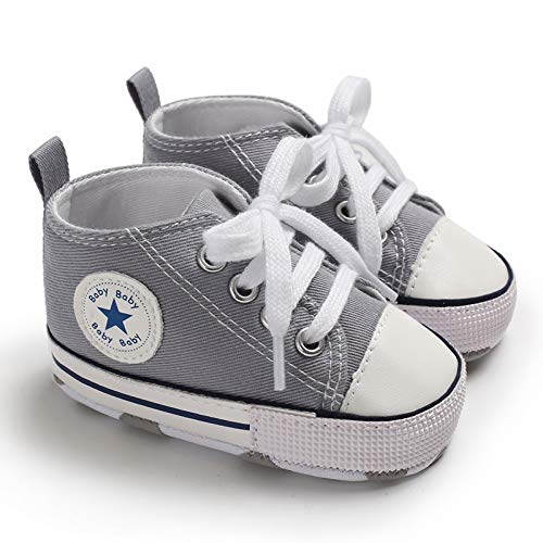 TUZAMA Baby Boys Girls Star High Top Sneaker Soft Anti-Slip Sole Newborn Infant First Walkers Canvas Denim Shoes Grey, 0-6 Months Infant