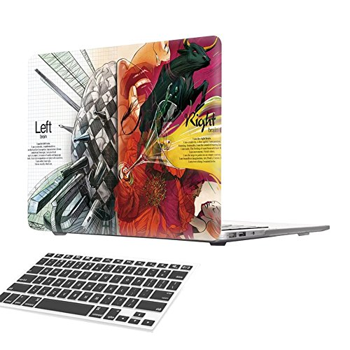 Macbook 13 Retina Pro Case, [Left Right Brain] Soundmae Frosted Plastic Hard Shell Skin Smooth Touch Case & Keyboard Cover for MacBook Retina Display 13.3 Model A1425&A1502, Inset