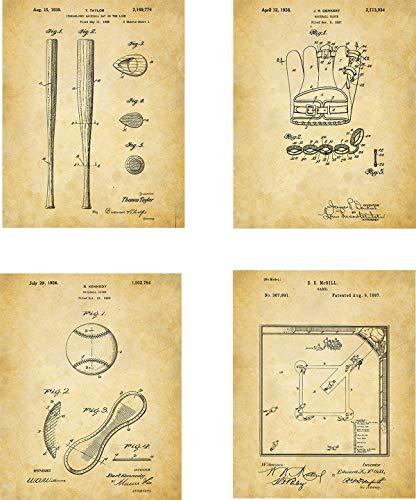 - Baseball Patent Wall Art Prints - set of Four (8x10) Unframed - wall art decor for baseball fans