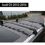 Fit for Audi Q3 2012-2017 Lockable Baggage Luggage Racks Roof Rack Rail Cross Bar Crossbar - Black