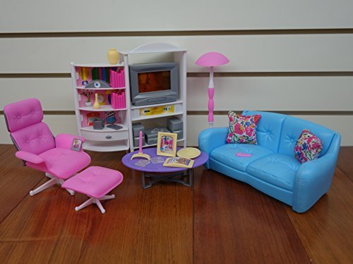 gloria Barbie Size Doll House Furniture, Family Room, TV, Couch, Ottoman