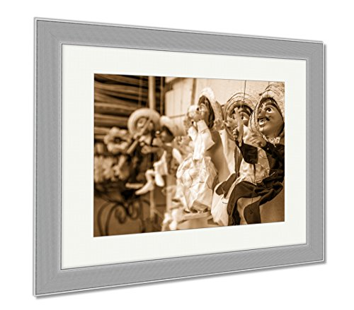 Ashley Framed Prints Marionettes In San Antonio Texas United States, Wall Art Home Decoration, Sepia, 26x30 (frame size), Silver Frame, - Puppet Only Head