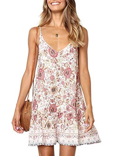 QEHEPA Women's Bohemian Floral Printed Summer V Neck Sleeveless Spaghetti Strap Ruffle Swing A Line Beach Short Dress White