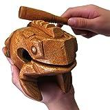 "BSIRI Large 6"" Wood Frog Guiro Rasp-Musical Instrument Tone Block, Brown, inch (FR06N)"
