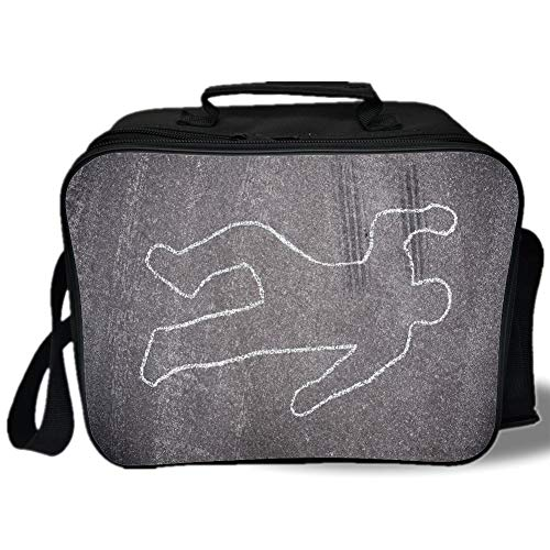 Cab Street Scene - Insulated Lunch Bag,Modern,Crime Scene Investigation on a Road Street Murder Chalk Drawn Art Image,Charcoal Grey White,for Work/School/Picnic, Grey