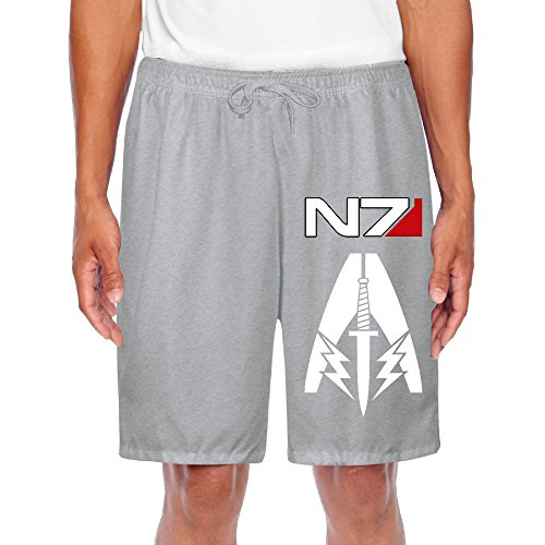 Price comparison product image YOUARN Men's Mass Effect Alliance N7 Short Sweatpants Ash