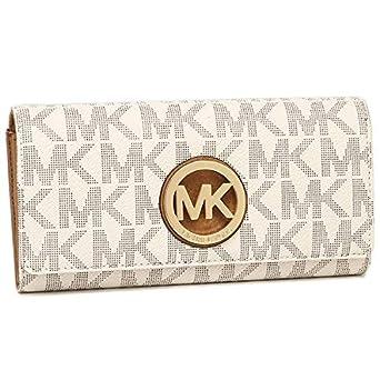 072b6d21ff6ea3 Michael Kors 35T7GFTE1B Fulton MK Signature PVC Carryall Wallet - Vanilla /Acorn