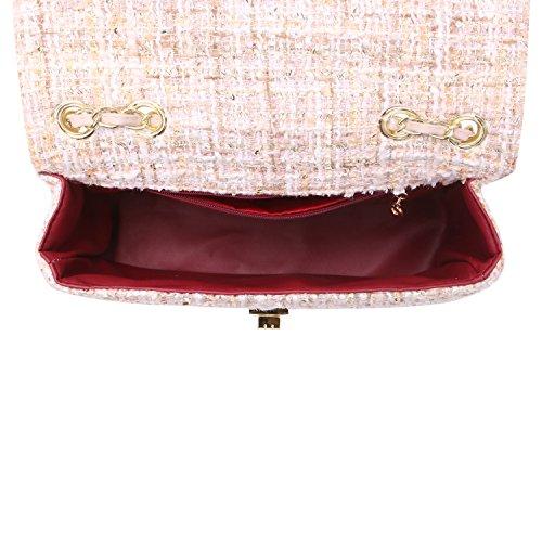 Women's Quilting Bag Envelope Shoulder Cross Tweed Pink Body Handbag r0qOrwE