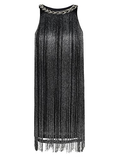 kayamiya Women's Art Deco 1920s Gatsby Fringe Prom Party Flapper Dress Ombre L Black]()