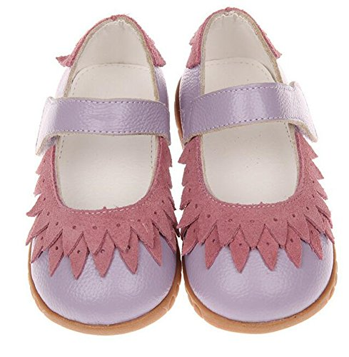 Bumud Little Girl's Genuine Leather Round Toe Princess Dress Mary Jane Flat Shoes (8 M US Toddler, Purple) by Bumud (Image #1)