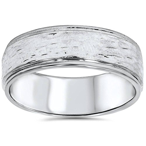 Hand Etched 6mm Dome Wedding Band 10K White Gold - Size 8.5