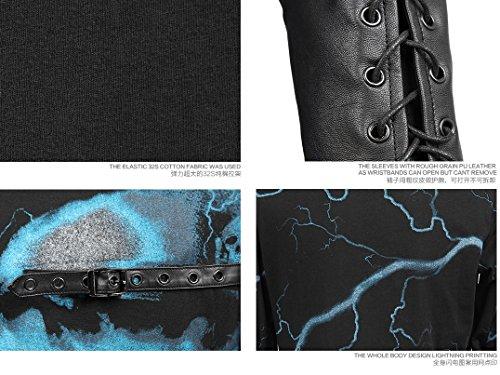 Punk Rave Herren Shirt Langarm Blau Print T-331