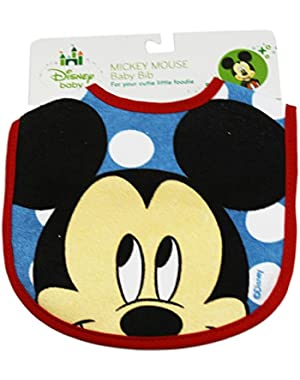 Red and Blue Mickey Mouse Face Disney Baby Bib