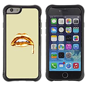LASTONE PHONE CASE / Suave Silicona Caso Carcasa de Caucho Funda para Apple Iphone 6 / Golden Lips Blood White Teeth Art