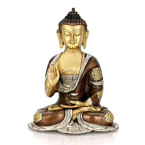 CraftVatika 10 Inches Large Blessing abhaya Tibetan Buddha Idol -Bronze Thai Handmade Beautiful Brass Sculpture by CraftVatika