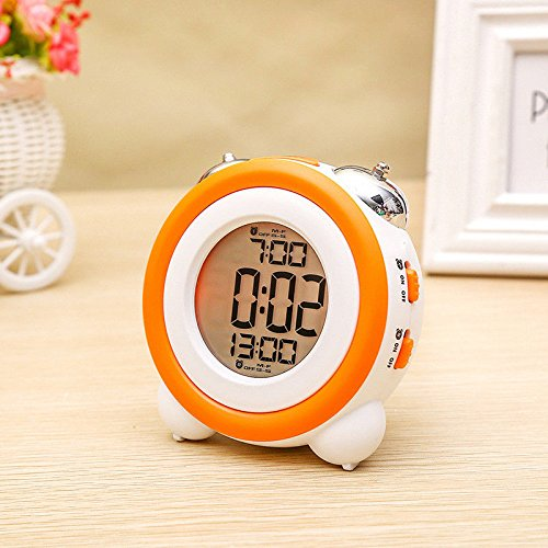 Zinnor Toddler Stay-In-Bed Light Clock, Simple LED Cute Mini Portable Alarm Clock - Teaches Child When Ok-to Wake Up + Kids Alarm (Orange) (Kids Nap Time Alarm Clock)