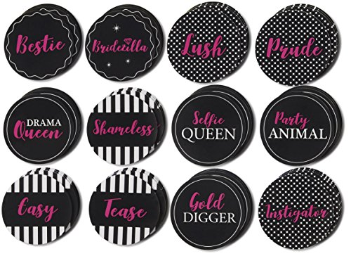 Name Tags for Bachelorette Party - 48-Pack Party Name Stickers and Labes for Besties, Slumber Party, Bridal Shower Party Supplies, 12 Designs, Pink and Black, 2.25 -