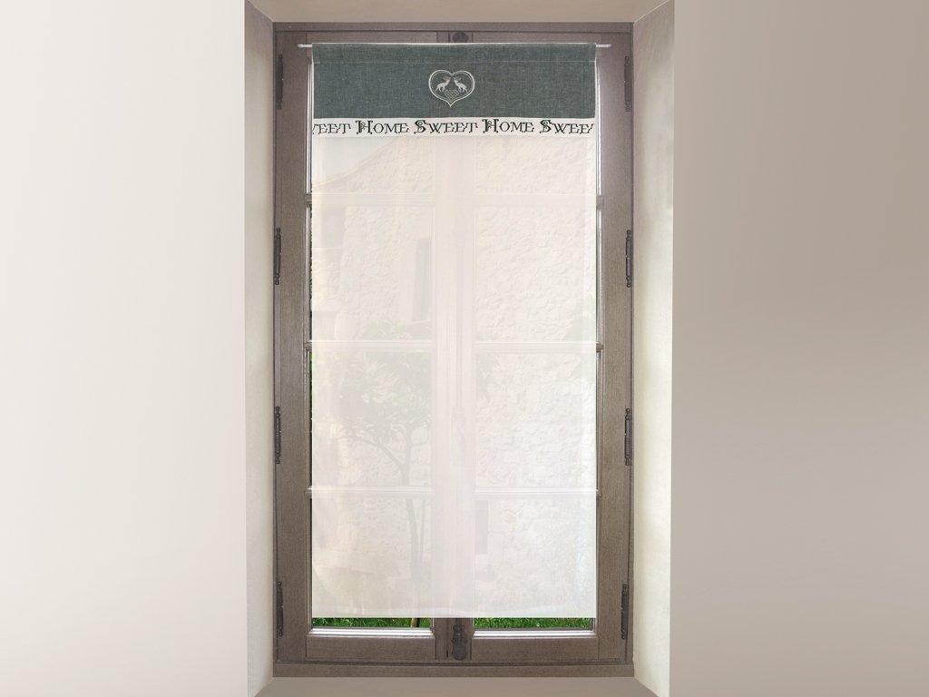 Soleil d'ocre 044707 Tendina per finestra ricamata in cotone 60 x 120 cmSWEET HOME Grigio, diSoleil d'Ocre diSoleil d' Ocre SELARTEX