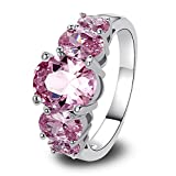 Psiroy 925 Sterling Silver Grace Womens Band Charms Gorgeous 8mm*10mm Oval Cut Pink Topaz Filled Ring