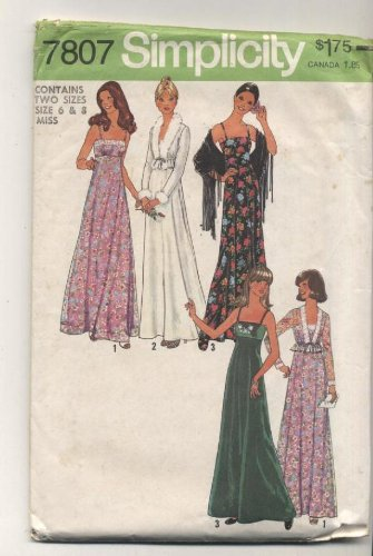 Vintage Simplicity 1970s Formal Prom Dress Sewing Pattern 7807 70s Simplicity Sewing Pattern