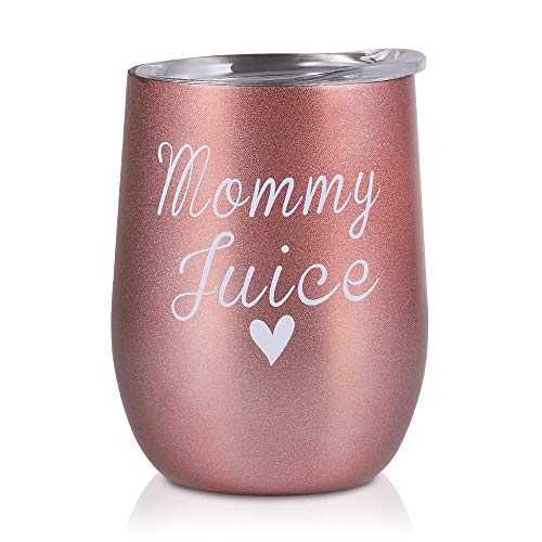 (Mommy Juice - Wine Tumbler with Lid Double Insulated Stainless Steel Stemless Insulated Wine Glass, Durable Insulated Coffee Mug, for Camping, Cocktail, Beer, Office for The New Mommy, Mom to be, Wife )