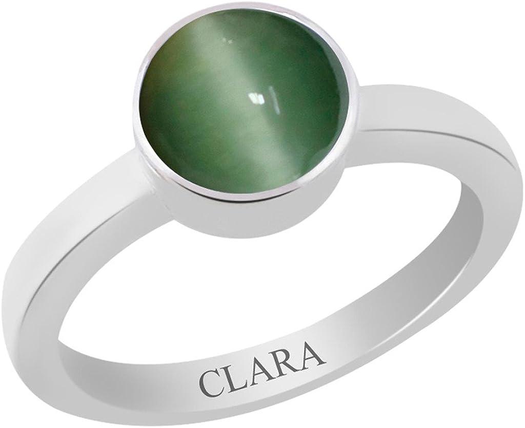 Clara Certified Cats Eye Lehsuniya 9.3Cts Or 10.25Ratti Elegant Silver Ring