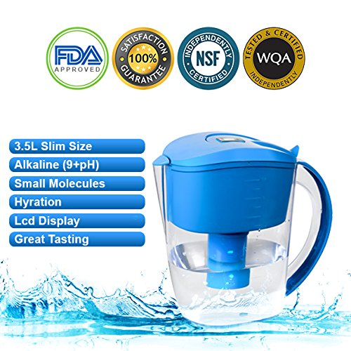 Alkaline Water Pitcher – 3.5 Liters,7 Stage Filteration, Free Filter Included, (Blue)