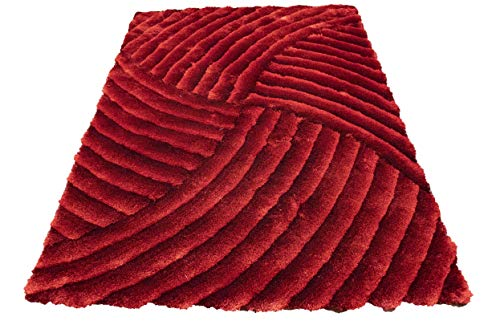 (Deep Red Dark Red Burgundy Colorful Shag Shaggy Fluffy Fuzzy Furry Modern Contemporary Medium Pile Large 8'x10' Feet Bedroom Living Room Area Rug Carpet Rug Sale (SAD 259)