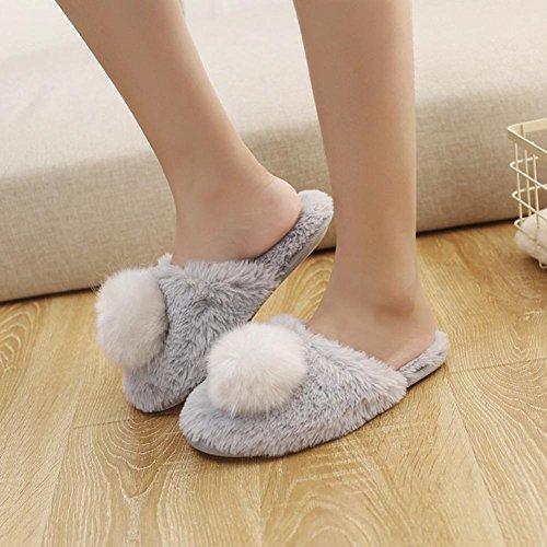 Femmes Pantoufle Plate, Inkach Filles Élégantes Tongs Faux Fourrure Floue Sandale Plate Pantoufle Chaussures Chaudes Gris