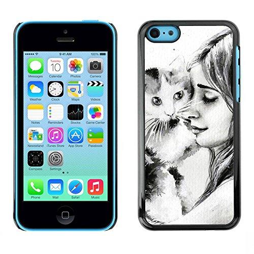 Housse Coque Étui de protection Anti-Scratch Effacer pour Apple Iphone 5C / Business Style Cute Girl & Cat