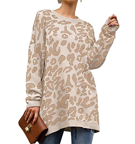 PRETTYGARDEN Women's Casual Leopard Print Long Sleeve Crew Neck Knitted Oversized Pullover Sweaters Tops (White, X-Large)
