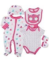 Parure de naissance 6 pièces - bébé fille - blanc et rose chat