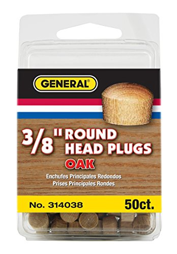 The Round Oak - General Tools 314038  Round Head Plugs, 3/8-Inch, Oak, 50-Pack