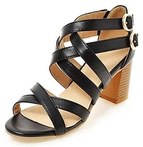 Mofri Women's Stylish Buckle Cross Straps Stacked Medium Block Heel Gladiators Sandals Black 4 B(M) US ()