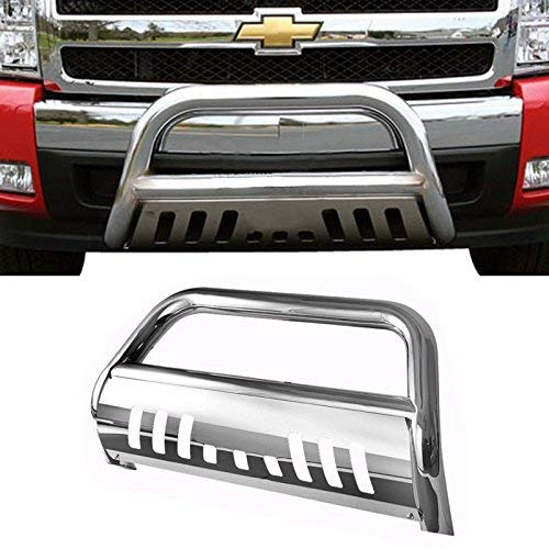 (Span Bull Bar Skid Plate Front Push Bumper Grille Guard Stainless Steel Chrome for 2007-2013 Chevy Silverado,GMC Sierra 1500 New Body Style)