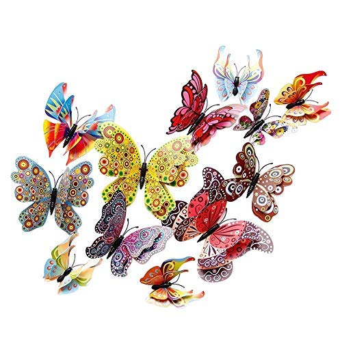 12 Pcs 3d Butterfly Wall Stickers Home Decor Pvc Children Room Decal Adesivo De Parede - Wall Stickers ()