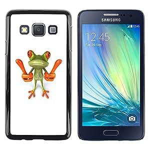 TopCaseStore / la caja del caucho duro de la cubierta de protección de la piel - Smart Frog Funny Cartoon Minimalist White - Samsung Galaxy A3 SM-A300