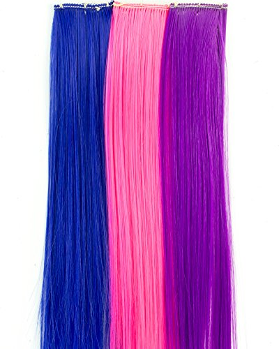Clip in Hair Pieces, Set of 3 with Hot Pink, Blue and Purple Straight Hair Clips | Doll Hair Care Accessory Set of 3 Hair Clips ()