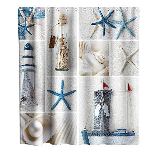 Final Friday Nautical Beach Seashells Theme Fabric Shower Curtain Sets Bathroom Starfish Decor with Hooks Waterproof Washable 72 x 72 inches Blue and White