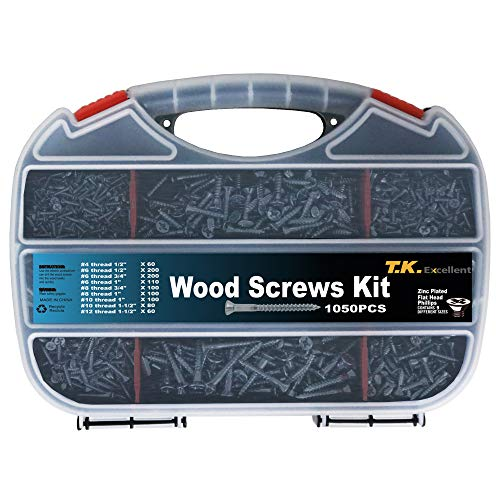 T.K.Excellent Wood Screw Phillips Flat Head #4#6#8#10#12 Screws Assortment Kit,1050 Pcs (Removing A Phillips Screw With Stripped Head)