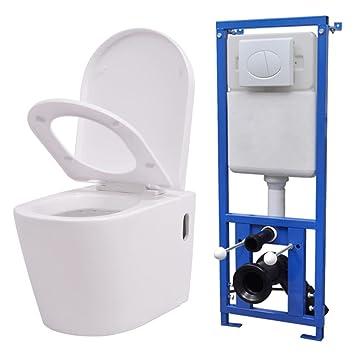 Festnight Keramik Hange Wc Toilette Mit Spulkasten Inkl Wc Sitz Mit