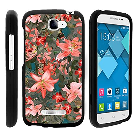 Snap On Case for Alcatel One Touch Fierce 2 7040T , Slim Fit Snug Rubberized Custom Unique Image Cover Shell Black with Designs Pop Icon A564C By TurtleArmor | 2 in 1 Combo Includes Clear Screen Protector and Case - Pink Floral (Alcatel Android 4g Fierce 2)