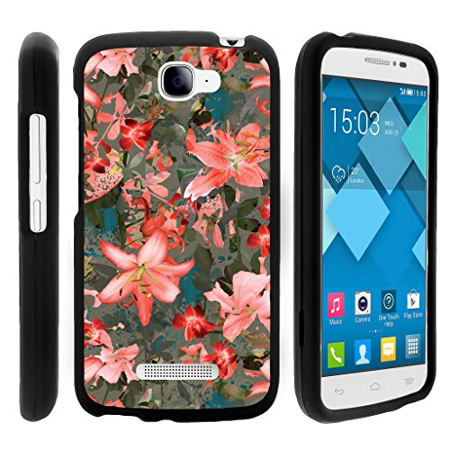 Snap On Case for Alcatel One Touch Fierce 2 7040T , Slim Fit Snug Rubberized Custom Unique Image Cover Shell Black with Designs Pop Icon A564C By TurtleArmor | 2 in 1 Combo Includes Clear Screen Protector and Case - Pink Floral Burst (Alcatel One Touch Fierce Prepaid Cell Phone)
