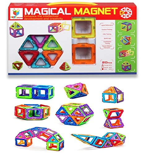 Toys Bhoomi 20 Piece Magical Magnetic Building Blocks Construction Learning Educational Toy Set for Toddlers / Kids